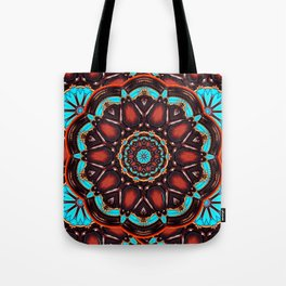 Abstract - Wood & Turquoise Pattern Tote Bag