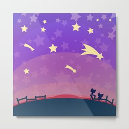 Starry sunset seen by cats Metal Print