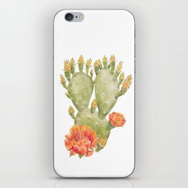 Cactus and Flower Watercolour Painting Print by Magda Opoka iPhone Skin