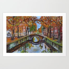 Bridge in Delft Art Print