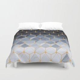 Blue gold hexagonal pattern Duvet Cover