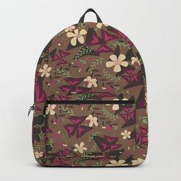 Purple Shamrock Floral Layered Pattern / Brown Backpack