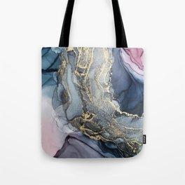 Blush, Payne's Gray and Gold Metallic Abstract Tote Bag