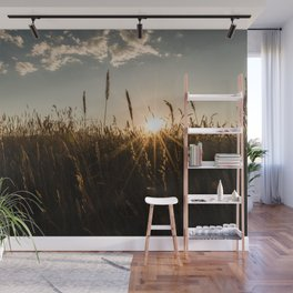 Wyoming Wheat Field Sunset Wall Mural