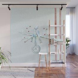 Winter bird on linen Wall Mural