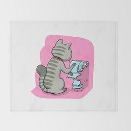 Cats Battling Toilet Paper Rolls Throw Blanket