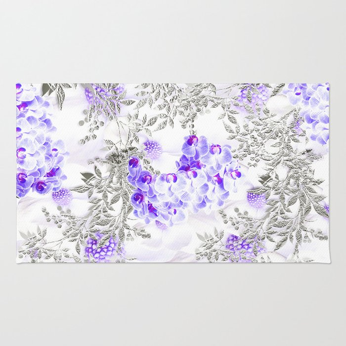 ORCHIDS PURPLE VINES AND CHERRY BLOSSOMS Rug