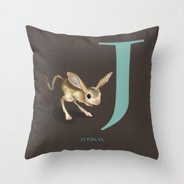 J is for Jerboa: Under Appreciated Animals™ ABC nursery decor dark grey unusual animals Throw Pillow