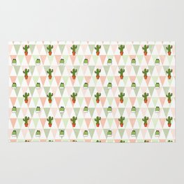 Hand painted pink coral green geometrical cactus Rug
