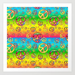 Crazy Kids Colors, Peace Out Art Print