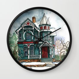 Blue House on a Grey Day Wall Clock