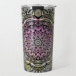 DETAILED CHARCOAL MANDALA (BLACK AND WHITE) WITH COLOR (PINK YELLOW TEAL) Travel Mug
