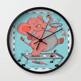 I'm so drunk, I'm seeing pink elephants! Wall Clock