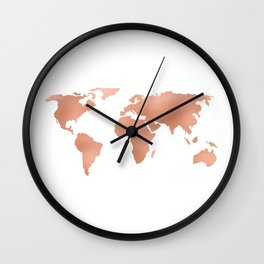 World Map Rose Gold Bronze Copper Metallic Wall Clock