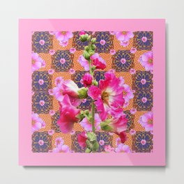 Fuchsia Purple Holly Hocks Pattern Grey Flora Art Metal Print