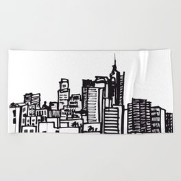 City Landscape monochromatic Beach Towel
