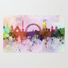 Kiev skyline in watercolor background Rug