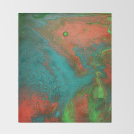 Rusty Jade: Acrylic Pour Painting Throw Blanket