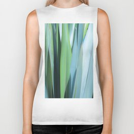 blue and green leaves Biker Tank