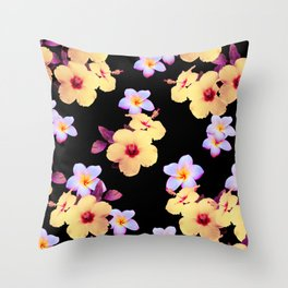Hibiscus and Plumeria Throw Pillow