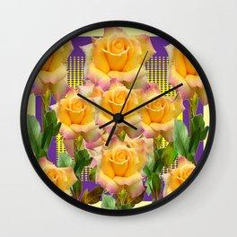 Purple Tinged Golden Yellow Garden Roses Green Art Wall Clock