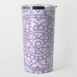 Lavender Mandala on White Marble Travel Mug