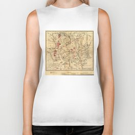 Vintage Map of Yellowstone National Park (1881) Biker Tank