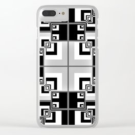 Interlock In Grey and Black Clear iPhone Case