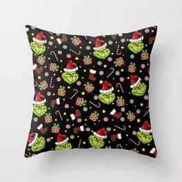 Grinch pattern Throw Pillow