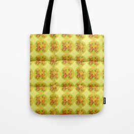 Quilted Style Lime Green Art Yellow Daffodils  Pattern Tote Bag