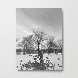 Old Man and Pigeons Metal Print