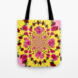 PINK-RED ROSES ON YELLOW-PINK ART Tote Bag