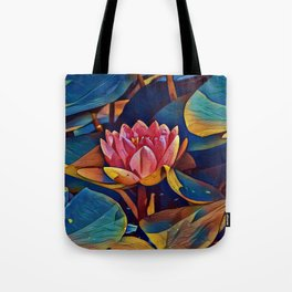 Painted Waterlily Tote Bag