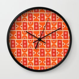 Mid Century Abstract Pattern Orange & Red Wall Clock