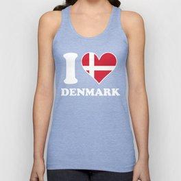 I Love Denmark Danish Flag Heart Unisex Tank Top