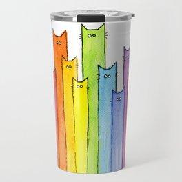Rainbow of Cats Funny Whimsical Colorful Cat Animals Travel Mug