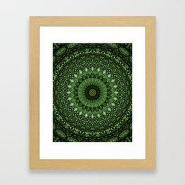Mandala in olive green tones Framed Art Print