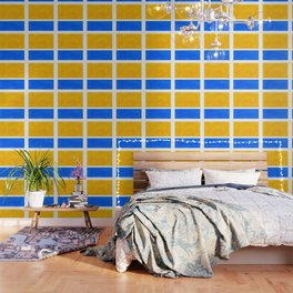 Primary Yellow Cerulean Blue Mid Century Modern Abstract Minimalist Rothko Color Field Squares Wallpaper