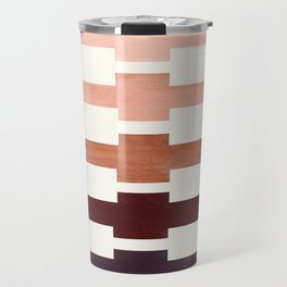 Mid Century Minimalist Ancient Aztec Inca Geometric Pattern Watercolor Raw Umber Colorful Gouache Pa Travel Mug