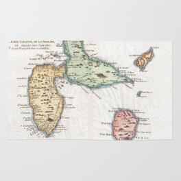 Vintage Map of Guadeloupe (1780) Rug