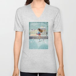 Ice Skating Girl Unisex V-Neck