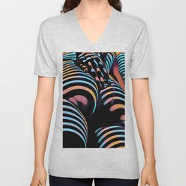 1937s-AK Striped Woman Hand Down Back Bum Butt Abstract Nude Female Ass Unisex V-Neck