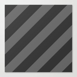 Stripes Diagonal Black & Gray Canvas Print