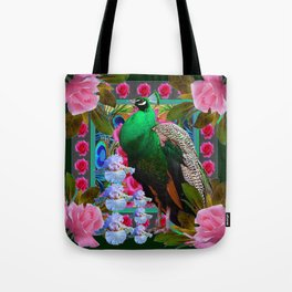 PINK ROSES & GREEN PEACOCK GARDEN FLORAL ART Tote Bag