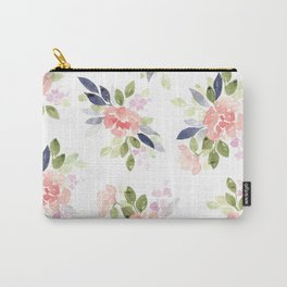 Peach & Nvy Watercolor Flowers Carry-All Pouch