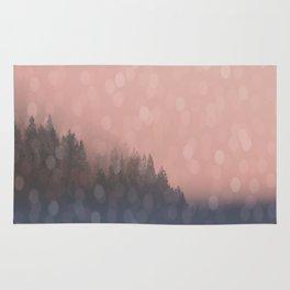 Frosty Morn, Forest Landscape Sparkles Rug