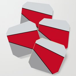 Diagonal Color Blocks in Red and Grays Coaster