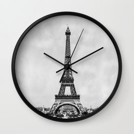 Eiffel tower, Paris France in black and white with painterly effect Wall Clock