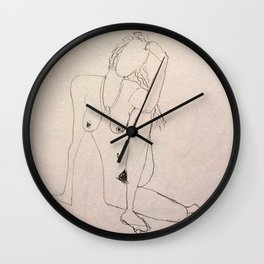 seated nude - pencil sketch Wall Clock