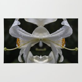 Aesthetic abstract mirroring fractal lily covered by raindrops Rug